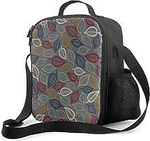 Insulated Lunch Bag Gray & Blue Leaf Cooler Bag