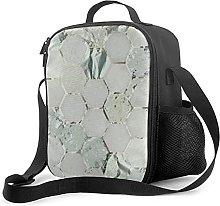 Insulated Lunch Bag Hexagone Mint Aqua Silver Gray