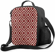 Insulated Lunch Bag Ikat Diamond Pattern in Red
