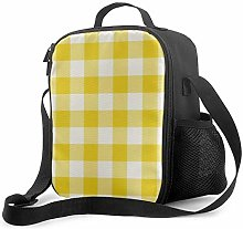 Insulated Lunch Bag Lemon Yellow Gingham Pattern