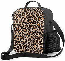 Insulated Lunch Bag Leopard Repeating Orange