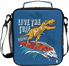Insulated Lunch Bag Live The Surf Funny Dinosaur