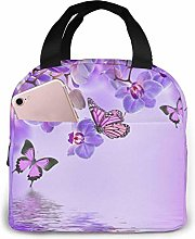 Insulated Lunch Bag Lunch Kit, Purple Butterfly