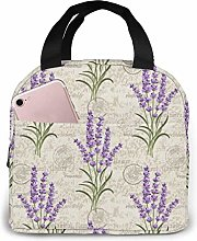 Insulated Lunch Bag Lunch Kit, Purple Flower