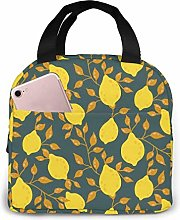 Insulated Lunch Bag Lunch Kit, Yellow Lemon