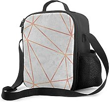 Insulated Lunch Bag Marble Geometric Rose Gold