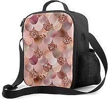 Insulated Lunch Bag Mermaid Scales Girly Rose Gold