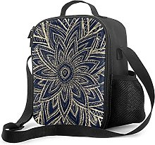 Insulated Lunch Bag Modern Gold Navy Blue Abstract
