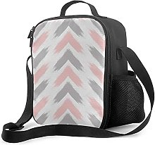 Insulated Lunch Bag Modern Pastel Pink Gray Arrow