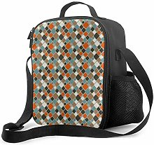 Insulated Lunch Bag Modern Teal Orange and Brown