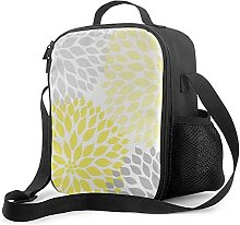 Insulated Lunch Bag Modern Yellow and Gray Dahlia
