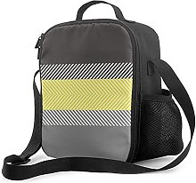 Insulated Lunch Bag Modern Yellow & Gray Geometric