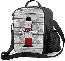 Insulated Lunch Bag Nautical Lighthouse On Gray