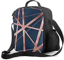 Insulated Lunch Bag Navy and Copper Luxe Cooler