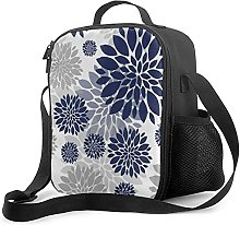 Insulated Lunch Bag Navy Blue Gray Flower Cooler