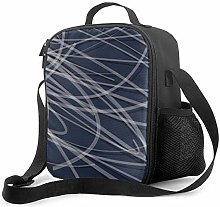 Insulated Lunch Bag Navy Blue Gray & White
