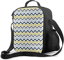 Insulated Lunch Bag Navy Blue Light Blue Yellow