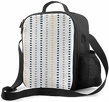 Insulated Lunch Bag Navy Blue Yellow Gray Stripe