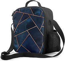 Insulated Lunch Bag Navy & Copper Geo Cooler Bag