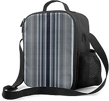 Insulated Lunch Bag Navy Gray Stripes Cooler Bag