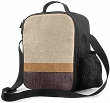 Insulated Lunch Bag Neutral Brown and Caramel