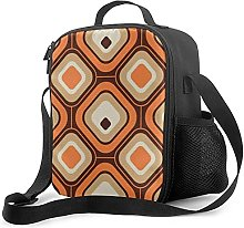 Insulated Lunch Bag Orange Brown and Beige Cooler