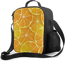 Insulated Lunch Bag Orange Citron Cooler Bag
