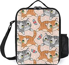 Insulated Lunch Bag Orange Gray Cat Lunch Box