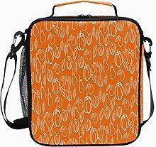 Insulated Lunch Bag Orange Xmas Pumpkin Motif