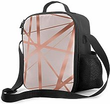 Insulated Lunch Bag Pink and Copper Luxe Cooler