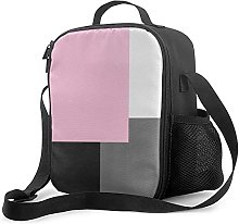 Insulated Lunch Bag Pink Gray Black and White