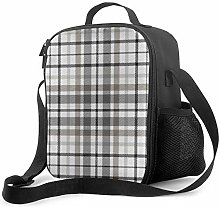 Insulated Lunch Bag Plaid Gray Tan Brown Vintage