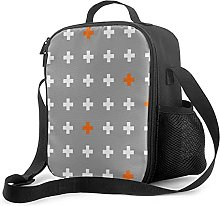 Insulated Lunch Bag Pluses in Gray and Orange Plus