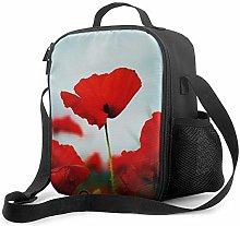 Insulated Lunch Bag Poppy Field Cooler Bag