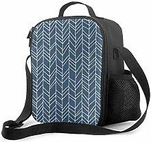 Insulated Lunch Bag Primitive Herringbone Pattern