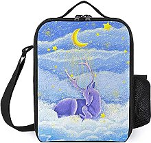 Insulated Lunch Bag Purple Deer Lunch Box Portable
