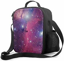 Insulated Lunch Bag Purple Galaxy Cooler Bag