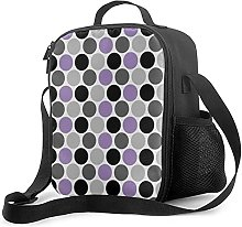 Insulated Lunch Bag Purple Gray Black Retro