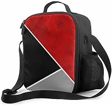 Insulated Lunch Bag Red Gray Black Color Block
