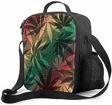 Insulated Lunch Bag Retro Hemp Leaves Pattern