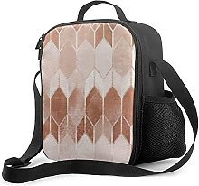 Insulated Lunch Bag Rose Gold Copper Chevron
