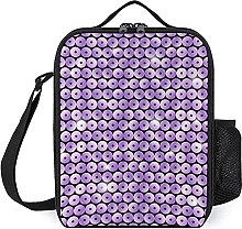 Insulated Lunch Bag Sequin Purple Lunch Box