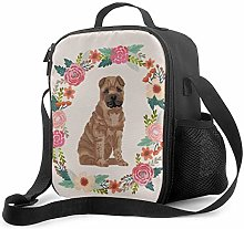 Insulated Lunch Bag Sharpei Floral Wreath Dog