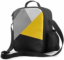 Insulated Lunch Bag Simple Modern Gray Yellow and