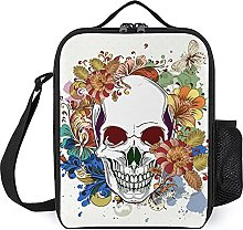 Insulated Lunch Bag Skull Flowers Lunch Box