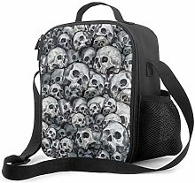 Insulated Lunch Bag Skull Pattern Cooler Bag
