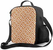 Insulated Lunch Bag Tangerine Orange Greek Key
