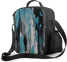 Insulated Lunch Bag Teal Gray Black and White