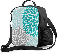 Insulated Lunch Bag Turquoise Blue Gray Dahlia Mod