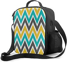 Insulated Lunch Bag Turquoise Gray Yellow Gold